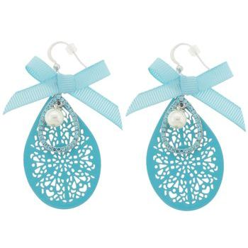 SOHO BEAT - Little Bow Peep - Pearl, Bow, and Crystal Filigree Drop Earrings - Baby Blue