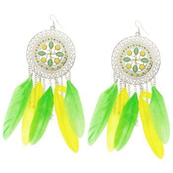 SOHO BEAT - Navajo Couture - Desert Walker Crystal and Feather Chandelier Earrings - Lemon/Lime Mirage