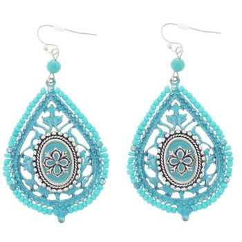 SOHO BEAT - Victorian Princess - Turquoise Bead Victorian Crest Teardrop Earrings