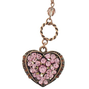SOHO BEAT - Masquerade Collection - Double Sided - Jeweled Swarovski Heart Necklace - Pink Sapphire & Pearl