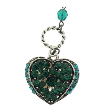 SOHO BEAT - Masquerade Collection - Double Sided - Jeweled Swarovski Heart Necklace - Emerald Green & Pearl