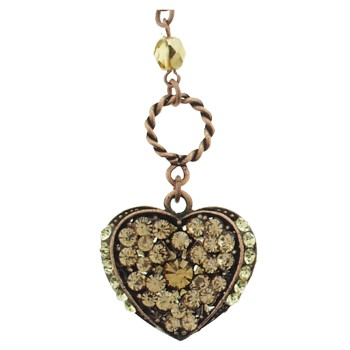 SOHO BEAT - Masquerade Collection - Double Sided - Jeweled Swarovski Heart Necklace - Citrine & Yellow Diamond
