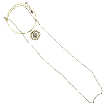 SOHO BEAT - Masquerade Collection - Jeweled Swarovski Flowering Choker with Crystaled Drop - Citrine & Yellow Diamond