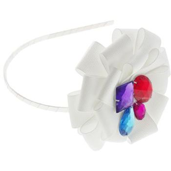 SBNY Accessories - White Ribbon Flower Headband with Abstract Gemstone Center