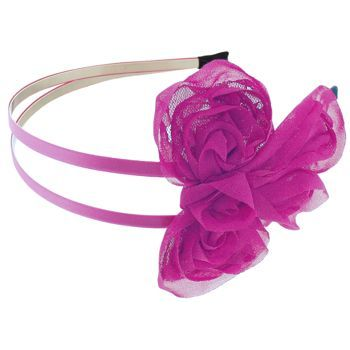 SBNY Accessories - Couture - Wildflower - Ribboned Bow Double Headband - Pink and Fuchsia