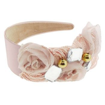 SBNY Accessories - Couture - Ivy - Lace, Rose, and Crystal Satin Headband - Seashell Pink
