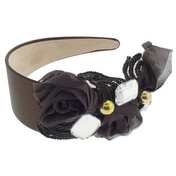 SBNY Accessories - Couture - Ivy - Lace, Rose, and Crystal Satin Headband - Chocolate