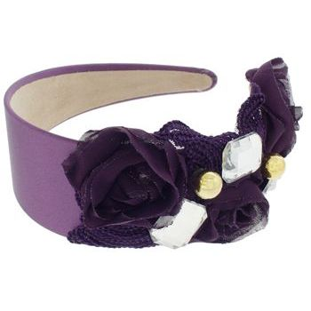 SBNY Accessories - Couture - Ivy - Lace, Rose, and Crystal Satin Headband - Perfectly Plum