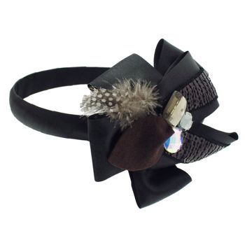 SBNY Accessories - Couture - Safflower - Sequined Satin Ribbon Ruffles with Crystals and Feather - Raven Black
