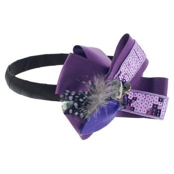 SBNY Accessories - Couture - Safflower - Sequined Satin Ribbon Ruffles with Crystals and Feather - Perfectly Plum
