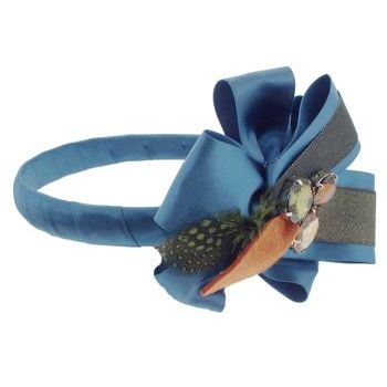 SBNY Accessories - Couture - Safflower - Sequined Satin Ribbon Ruffles with Crystals and Feather - Teal