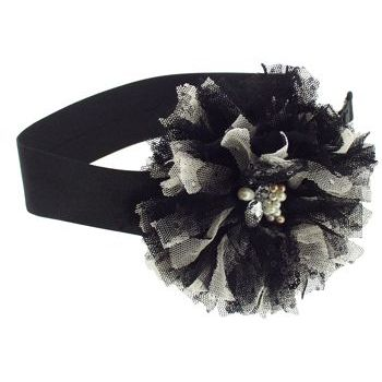 SBNY Accessories - Couture - Marigold - Satin Bandeau with Blooming Flower of Lace, Sequins, Pearls, and Crystals - Raven Black