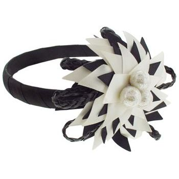 SBNY Accessories - Couture - Telstar - Blooming Flower of Satin, Braided Leather, and Webbed Orbs - Ivory