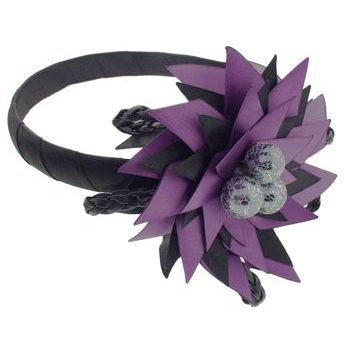 SBNY Accessories - Couture - Telstar - Blooming Flower of Satin, Braided Leather, and Webbed Orbs - Perfectly Plum
