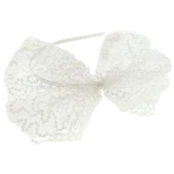 SBNY Accessories - Couture - Magnolia - Lace and Sequin Bow Skinny Headband - Alpine Snow