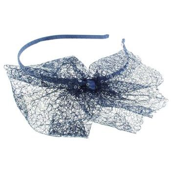 SBNY Accessories - Couture - Magnolia - Lace and Sequin Bow Skinny Headband - Navy Blue