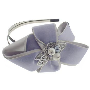 SBNY Accessories - Couture - Lavender - Layered Ribbon Ruffle and Metalwork Double Headband