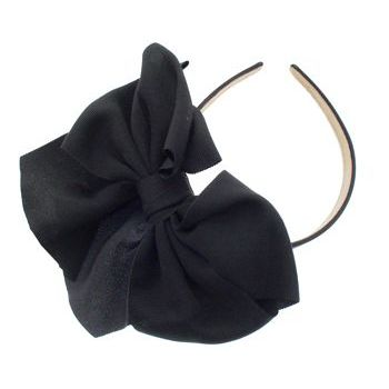 SBNY Accessories - Couture - Clover - Large Grosgrain Ribbon Bow Headband - Raven Black