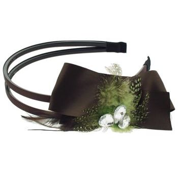SBNY Accessories - Couture - Aster - Satin Ribbon, Speckled Feather, and Crystal Double Headband - Mint Chocolate