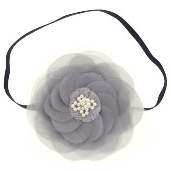 SBNY Accessories - Couture - Camillia - Flowering Magnolia with Pearl Center Bandeau - Smokey Grey