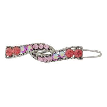 Karen Marie - Mini Crystal Ribbon Barrette - Rose (1)