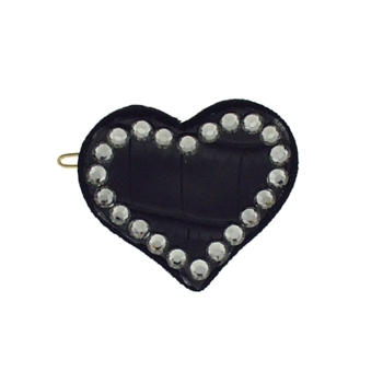 Rachel Weissman - Leather Heart Clip w/Crystals - Black Leather & Smoke Crystals