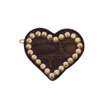 Rachel Weissman - Leather Heart Clip w/Crystals - Brown Leather & Gold Crystals