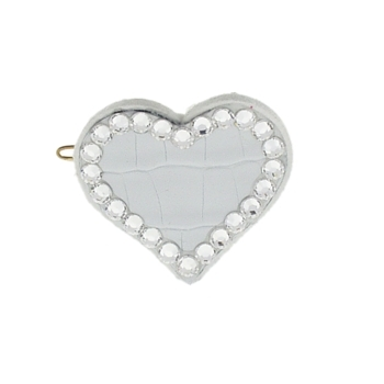 Rachel Weissman - Leather Heart Clip w/Crystals - White Leather & White Diamond Crystals