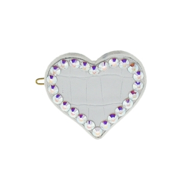 Rachel Weissman - Leather Heart Clip w/Crystals - White Leather & White Ab Crystals
