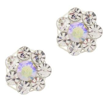 Karen Marie - Crystal Flower Coils  - White & White AB (set of 2)