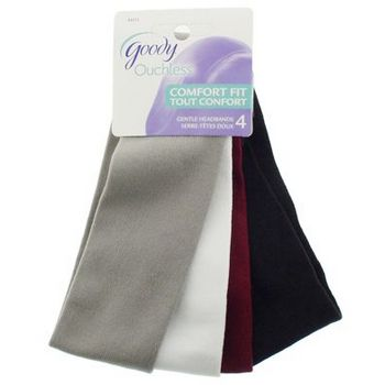 Goody - Ouchless - Comfort Fit Gentle - Lycra Medium Headbands - Black, White, Burgundy & Grey (set of 4)