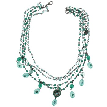 SOHO BEAT - Masquerade Collection - Jeweled Swarovski Triple Row Victorian Necklace - Emerald Green