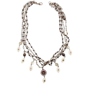 SOHO BEAT - Masquerade Collection - Jeweled Swarovski Triple Row Victorian Necklace - Pink Sapphire