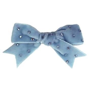 Tarina Tarantino - Velvet Bow Anywhere Clip w/ Crystals - Blue