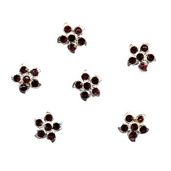 HB HairJewels - Austrian Crystal Flower Magnets- Ruby (set of 6 )