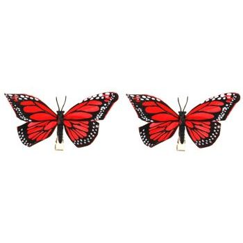 HB HairJewels - Lucy Collection - Monarch Butterfly Hairclips - Red (Set of 2)