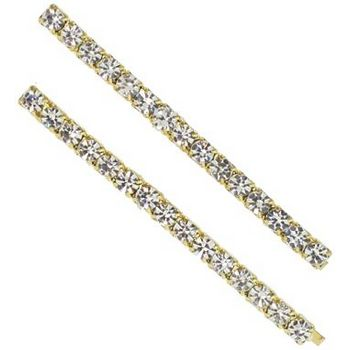 Karen Marie - Crystal Line Bobby Pins - White/Gold (Set of 2)