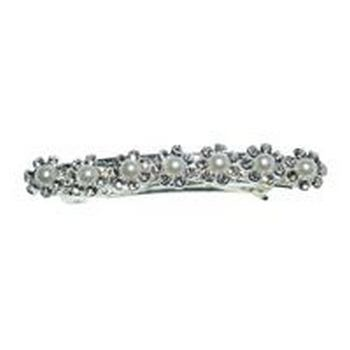 HB HairJewels - Austrian Crystal & Pearl Flower Barrette - White (1)