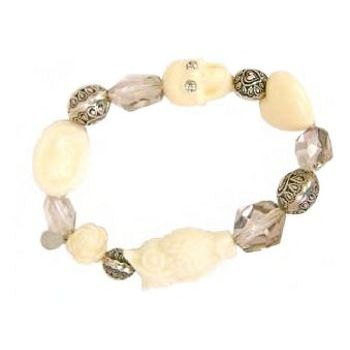 Tarina Tarantino - Carved Lucite & Crystal Cameo, Owl, and Skull Stretch Bracelet - Ivory (1)