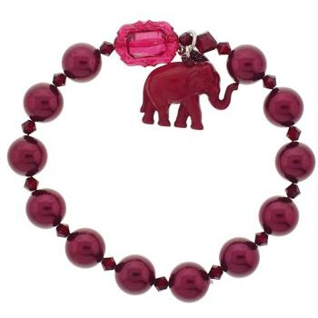 Tarina Tarantino - Glass Pearl & Crystal Stretch Bracelet w/Elephant Charm - Red