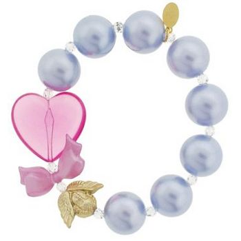 Tarina Tarantino - Swarovski Glass Pearl Bead w/Heart & Cherub Stretch Bracelet - Light Blue (1)