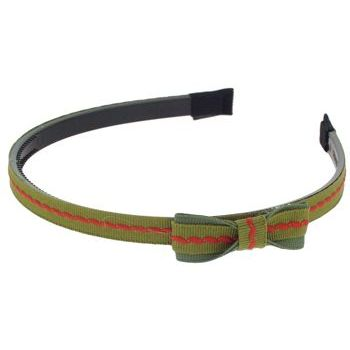 HB HairJewels - Lucy Collection - Skinny Grograin Ribbon Headband w/Bow - Army Green (1)