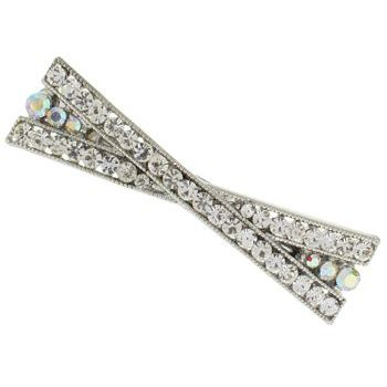 Karen Marie - Criss Cross Crystal Barrette - White (1)