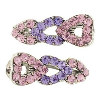 Karen Marie - Small Triple Heart Clips - Lavender (set of 2)