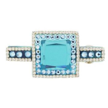 Karen Marie - Colossal Diamond Buckle Barrette - Aqua (1)