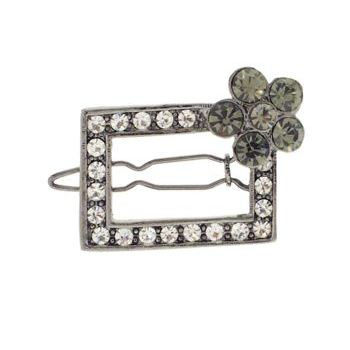 Karen Marie - Flowered Austrian Crystal Barrette - Smokey (1)