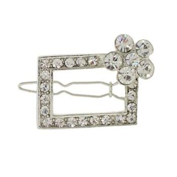 Karen Marie - Flowered Austrian Crystal Barrette - White (1)