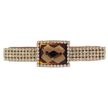 Karen Marie - Baby Colossal Diamond Buckle Barrette - Golden Topaz (1)