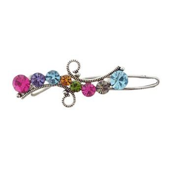 Karen Marie - Mini Crystal Ribbon Barrette - Rainbow (1)