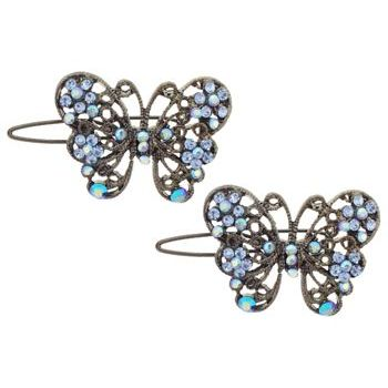 Karen Marie - Crystal Filigree Butterfly Clips - Blue & Blue AB (Set of 2)